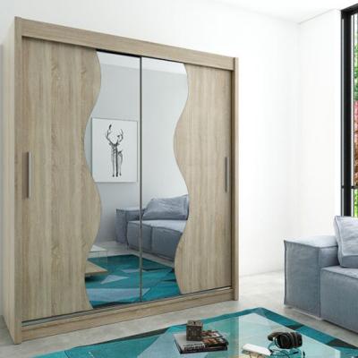 Levné Šatní skříně: Elegantní šatní skříň s posuvnými dveřmi a zrcadly Rozálie 200 v barvě dub sonoma
