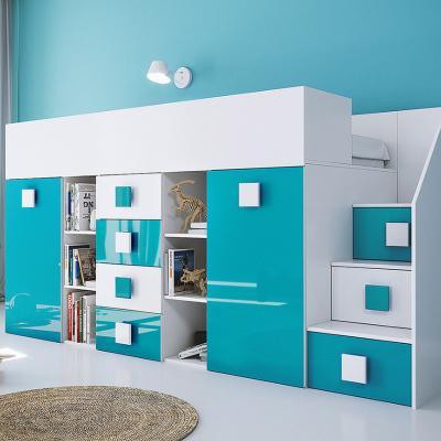 Levné Patrové postele pro děti: Dětská patrová postel s úložným prostorem a psacím stolem Willy - modrá pravá
