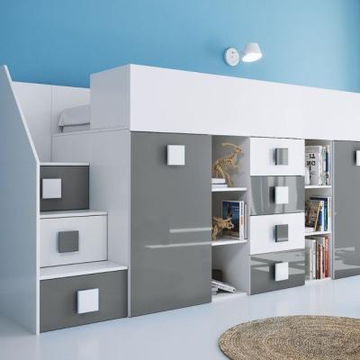 Levné Patrové postele pro děti: Dětská patrová postel s úložným prostorem a psacím stolem Willy - šedá levá