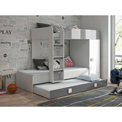 Levné Patrové postele pro děti: Dětská patrová postel s úložným prostorem Lena - bílá/šedá