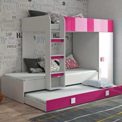 Levné Patrové postele pro děti: Dětská patrová postel s úložným prostorem Lena - bílá/růžová