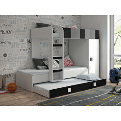 Levné Patrové postele pro děti: Dětská patrová postel s úložným prostorem Lena - bílá/černá