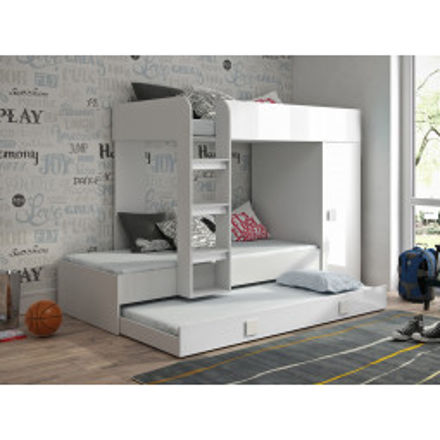 Levné Patrové postele pro děti: Dětská patrová postel s úložným prostorem Lena - bílá