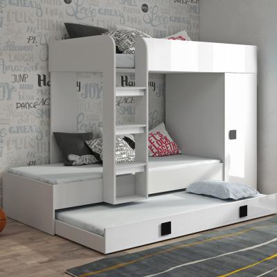 Levné Patrové postele pro děti: Dětská patrová postel s úložným prostorem Lena - bílá - černé úchyty