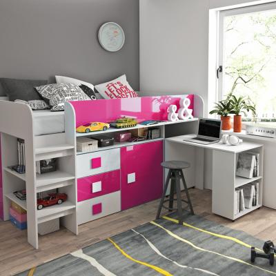 Levné Patrové postele pro děti: Dětská postel s psacím stolem a úložným prostorem Sisi - bílá/růžová