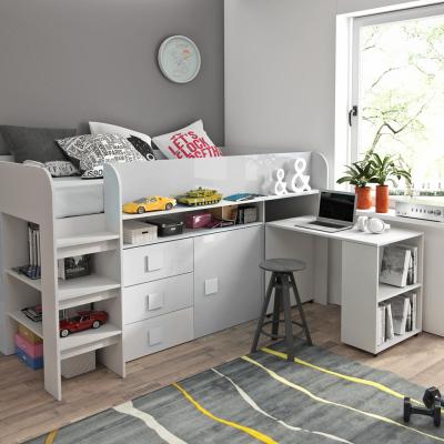 Levné Patrové postele pro děti: Dětská postel s psacím stolem a úložným prostorem Sisi - bílá