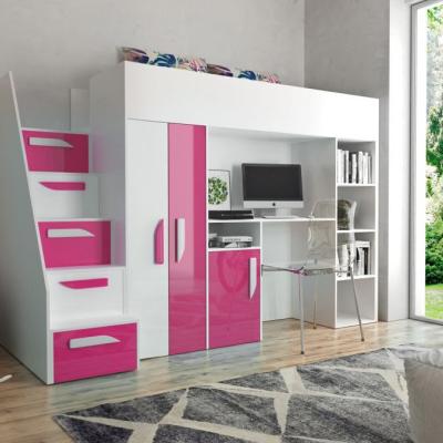 Levné Patrové postele pro děti: Patrová postel s psacím stolem Klára - bílá/růžová