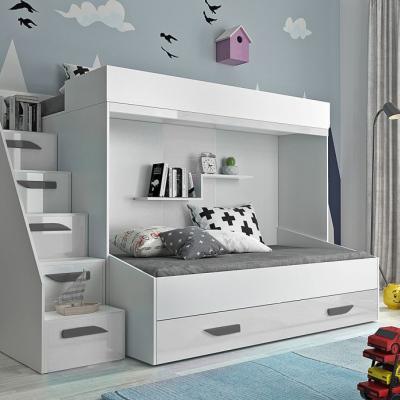 Levné Patrové postele pro děti: Dětská patrová postel s úložným prostorem Derry - bílá/šedé úchyty