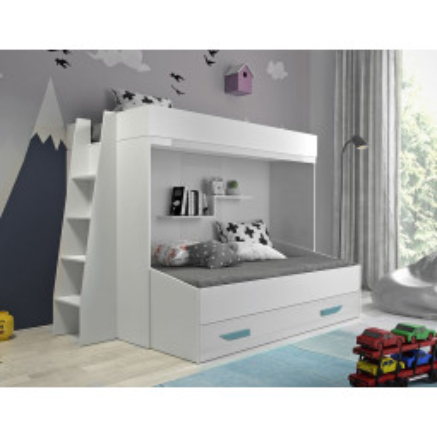 Levné Patrové postele pro děti: Patrová postel s úložným prostorem Lada - bílá/tyrkysové úchyty