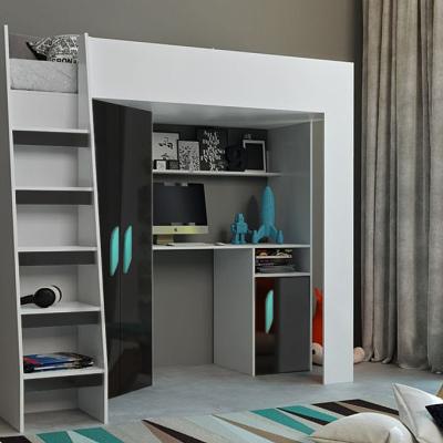 Levné Patrové postele pro děti: Dětská patrová postel s psacím stolem Aida - bílá/černá - tyrkys. úchyty