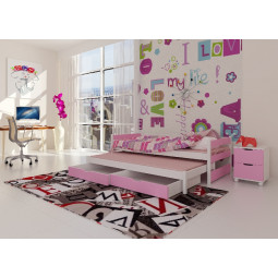 Levné Rozkládací postele s přistýlkou: Dětská postel s přistýlkou Midia - růžová