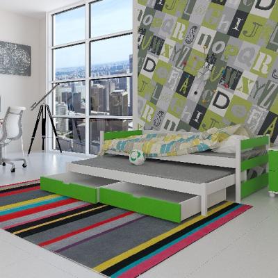 Levné Rozkládací postele s přistýlkou: Dětská postel s přistýlkou Midia - zelená