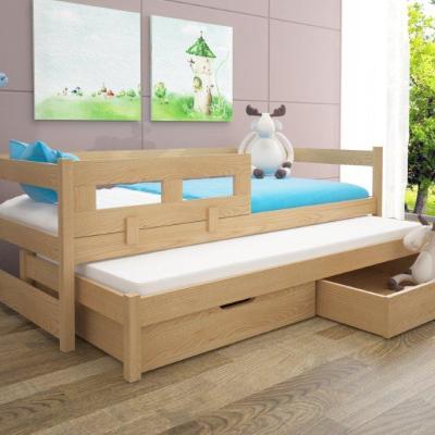 Levné Rozkládací postele s přistýlkou: Postel s přistýlkou a zábranou Kodia - borovice