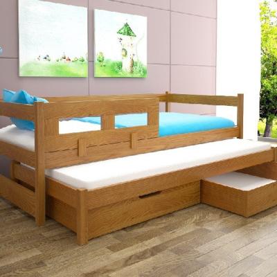 Levné Rozkládací postele s přistýlkou: Dětská postel s přistýlkou a zábranou Kodia - olše