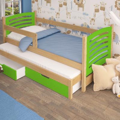 Levné Dětské postele: Rozkládací postel se zábranou Kora I - zelená