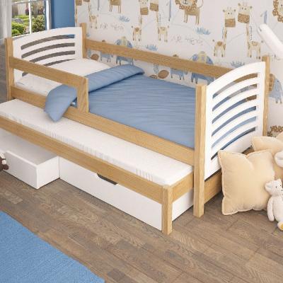 Levné Dětské postele: Rozkládací postel se zábranou Kora I - bílá
