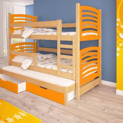 Levné Patrové postele z masivu s úložným prostorem: Patrová postel pro tři se zábranou Nemo I - oranž
