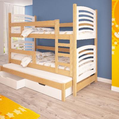 Levné Patrové postele z masivu s úložným prostorem: Patrová postel pro tři z masivu Nemo I - bílá