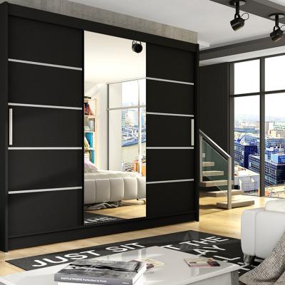 Levné Šatní skříně s posuvnými dveřmi: Prostorná šatní skříň se zrcadlem Taurus - černá