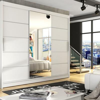 Levné Šatní skříně s posuvnými dveřmi: Prostorná šatní skříň se zrcadlem Taurus - bílá