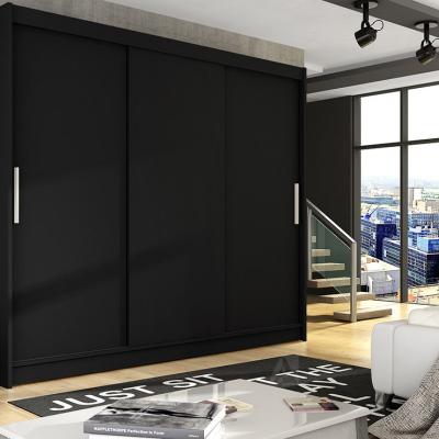 Levné Šatní skříně s posuvnými dveřmi: Prostorná šatní skříň Lion - černá