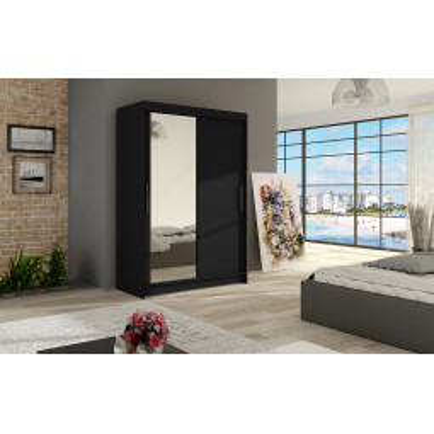 Levné Šatní skříně s posuvnými dveřmi: Šatní skříň se zrcadlem Angelo - černá