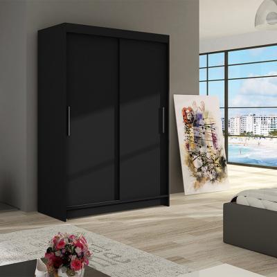 Levné Šatní skříně s posuvnými dveřmi: Prostorná šatní skříň Magda - černá