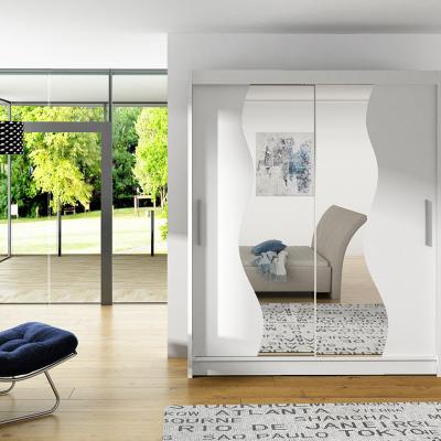Levné Šatní skříně s posuvnými dveřmi: Prostorná šatní skříň se zrcadlem Solar - bílá