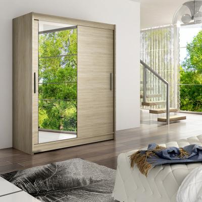 Levné Šatní skříně s posuvnými dveřmi: Prostorná šatní skříň se zrcadlem Lucie - sonoma