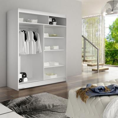 Levné Šatní skříně s posuvnými dveřmi: Prostorná šatní skříň se zrcadlem Lucie - bílá