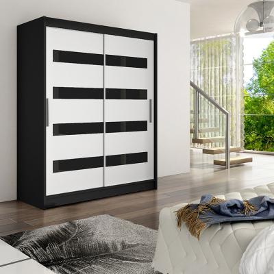 Levné Šatní skříně s posuvnými dveřmi: Moderní prostorná šatní skříň Pablo - černá/bílá