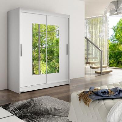 Levné Šatní skříně s posuvnými dveřmi: Prostorná šatní skříň se zrcadlem Hanus - bílá