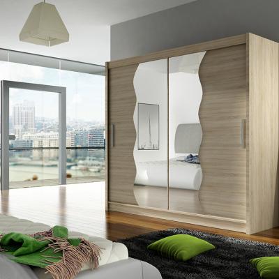 Levné Šatní skříně s posuvnými dveřmi: Prostorná šatní skříň se zrcadlem Fila - sonoma