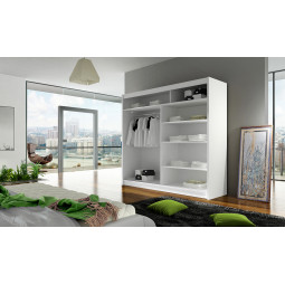 Levné Šatní skříně s posuvnými dveřmi: Prostorná šatní skříň se zrcadlem Fila - černá