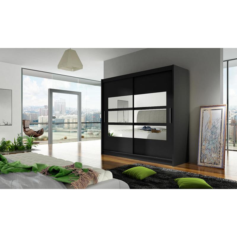 Levné Šatní skříně s posuvnými dveřmi: Prostorná šatní skříň Astra - černá