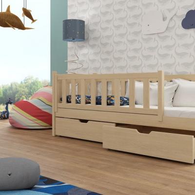 Levné Dětské jednolůžkové postele: Dřevěná dětská postel se zábranou Grace - borovice