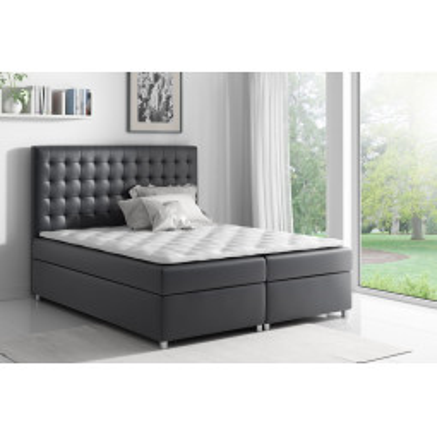 Levné Postele s úložným prostorem: Boxspringová postel Evio černá 120 + topper zdarma