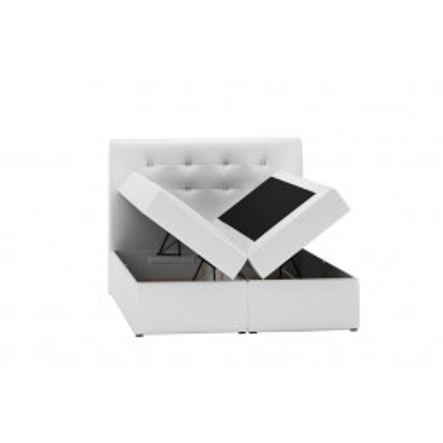 Levné Postele s úložným prostorem: Boxspringová postel Evio bílá 200 + topper zdarma