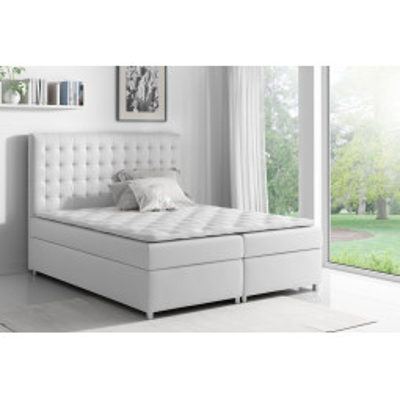 Levné Postele s úložným prostorem: Boxspringová postel Evio bílá 180 + topper zdarma