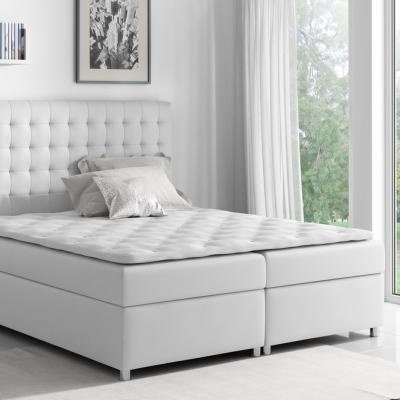 Levné Postele s úložným prostorem: Boxspringová postel Evio bílá 160 + topper zdarma