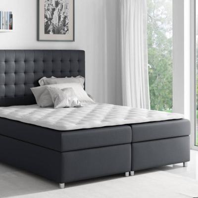Levné Postele s úložným prostorem: Kontinentální postel Evio černá 200 + topper zdarma