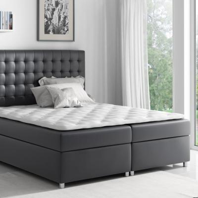 Levné Postele s úložným prostorem: Boxspringová postel Evio černá 180 + topper zdarma
