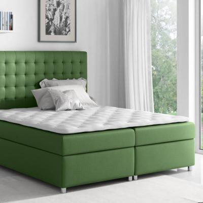 Levné Postele s úložným prostorem: Kontinentální postel Evio zelená 180 + topper zdarma