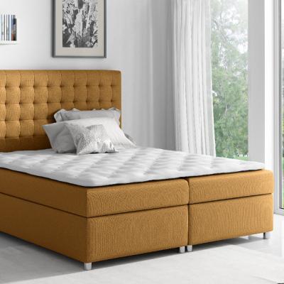 Levné Postele s úložným prostorem: Kontinentální postel Evio hnědá 180 + topper zdarma