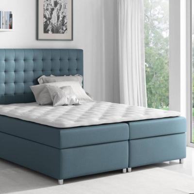 Levné Postele s úložným prostorem: Kontinentální postel Evio modrá 180 + topper zdarma