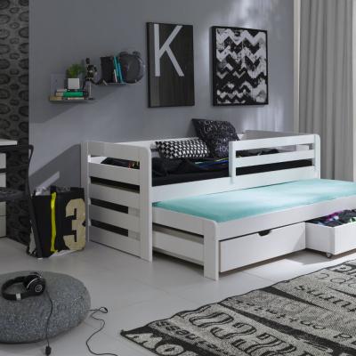 Levné Dětské jednolůžkové postele: Dřevěná postel s přistýlkou Audra 90x200 bílá