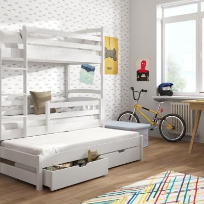 Levné Patrové postele s úložným prostorem: Patrová postel s přistýlkou Fred 90x200 bílá