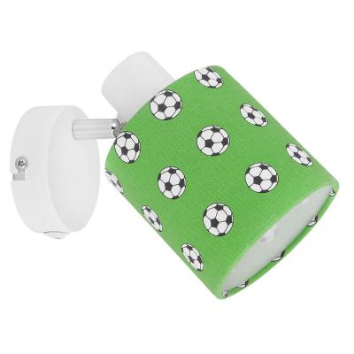 Levné Dětská nástěnná svítidla: Dětské nástěnné bodové světlo s fotbalovým míčem LEMMI, zelené