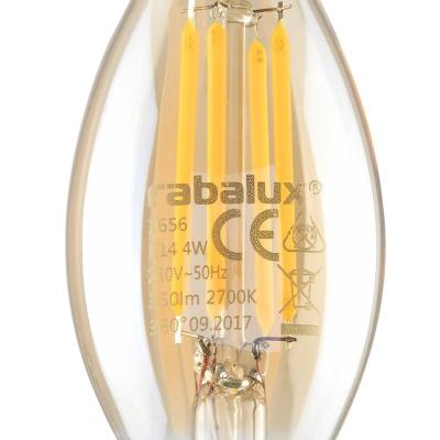 Levné LED diodové žárovky: Filamentová LED žárovka, tvar CA35, E14, 4W, teplá bílá