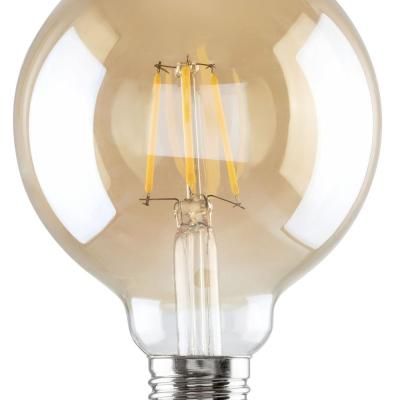 Levné LED diodové žárovky: Filamentová LED žárovka, G95, E27, 6W, teplá bílá